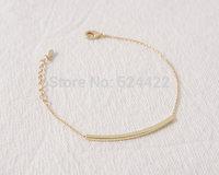 Min 1pc Gold and Silver Curved Bar Bracelet Brass Necklace SL013