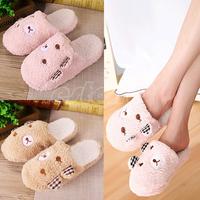 1 Pair New Cute Bear w/ Ear Women Lady Velvet Anti slip Slippers Indoor Floor House Soft Warm Cotton Fabric Slipper