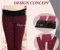 2014 Autumn Winter Women thick plus velvet Seamless printing love cats warm tights plus size pantyhose stockings