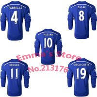 2015 Chelsea Long Sleeve Soccer Jersey DIEGO COSTA FABREGAS HAZARD SCHURRLE OSCAR DROGBA 14 15 Chelsea Soccer Shirts Full Sleeve