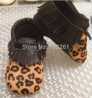 New leopard horsehair tassel shoes moccasins Genuine leather baby soft sole moccs bootiesToddler/infant fringe shoes prewalker
