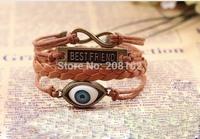 12pcs/lot 1 Dozen Fashion Leather Bracelet Best Friend Wrist Bracelet Accessory w Eyeball Free Shipping