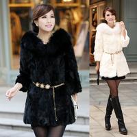 2014 new winter coat fox fur grass woman leather Korean version of the long coat coat S-XXL size selection multicolor Hot