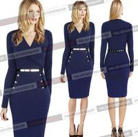 2015 Hot Selling New Fashion Autumn Winter Women Elegant Celebrity Bandage Bodycon Sexy V-Neck Long Sleeve Belt Evening Dresses