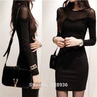 Black Sexy Gauze Slim Autumn Winter Dresses Full Sleeve Korean Style Patchwork Dress For Women Ladies OL Mini Dress 2014 Fashion