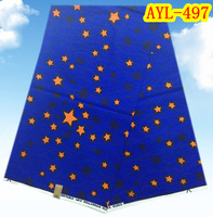 Blue background start design cotton material veritable wax African printing wax textile  AYL-497