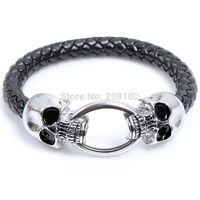 3pcs/lot Cool Wholesale Braided Leather Punk Skull Head Bracelet Bangle Wristband For Man men Gift