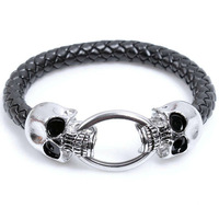 3pcs/lot Cool Wholesale Braided Leather Punk Skull Head Bracelet Bangle Wristband For Man men Gift