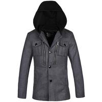 2014 Winter Man Casual Hooded Blazers Size S-2XL Black & Grey Single Breasted Pocket Decor Men Woolen Outerwear Jackets