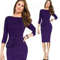 2015 Hot Fashion Autumn Winter Women Elegant Ruched Knee Length Celebrity Bodycon OL Slim Work Pencil Party Dresses Blue,Purple