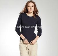 New 2014 100% cotton High quality fashion tomy brand women long sleeve T-shirt tommis clothing free shipping