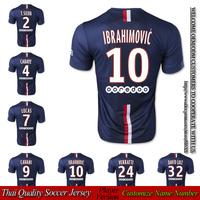 Free shipping CAVANI home blue soccer jersey 2014 2015 player version lucas david luiz jerseys 14/15 thai quality foothall shirt