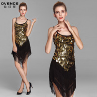 Hot sexy golden sequin tassel ballroom and latin dance dress for woman quality costumes free shipping