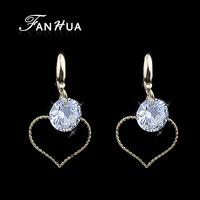 18K Blue Turkey Dangle Earrings Brincos Bijuterias  Fashion  Evening Earrings with Cute Heart Shape Pendant