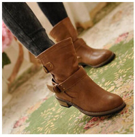 2014 women Boots female spring and autumn fashion women's martin boots flat vintage buckle motorcycle boots