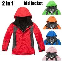 brand winter 2in1 two-piece skiing jackets children boys girls kids sports coats snowboard outerwear outdoor waterproof ski suit