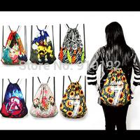 Janpanese original cartoon graffiti printing retro shoulder bag drawstring backpack