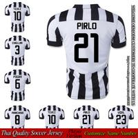 Football Club player version PIRLO home white and black soccer jersey 14 15 thai quality VIDAL TEVEZ shirts free shipping