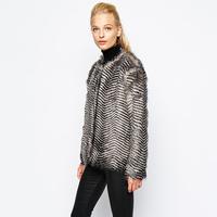 FREE SHIPPING new 2014 autumn winter Plus Size simple fashion Cute wavy stripes keep warmth women fur coat  XS-XXL