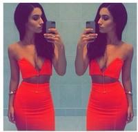 2014 Free shipping Fashion V-neck dress sexy 2PIEC  TB6573