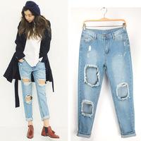 Free shipping new women's denim jeans loose pants big hole cross trousers
