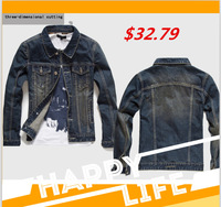 2014 new fashion hot sale men's denim Jackets Ride a motorcycle wear cowboy clothing free shipping