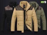 2014 New Men Cotton Coats High Quality Warm Solid Men DownMen Down Jackets3 Colors Size M-2XL