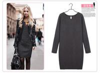 2014 New Women Winter Dress New Fashion Pure Color Casual Dress Long Sleeve Autumn Dresses 3XL Vestidos