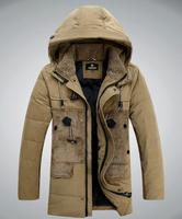 Hot 2014 Men'S Long Design Winter  Down Jackets Coats Thick Warm Fur Collar Hooded Jacket For Men 95% White Goose Dow 4XL XG-206