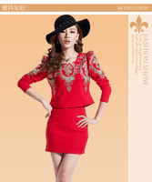 2014 Hitz Korean Women OL fashionable embroidered long-sleeved dress sets free shipping9101