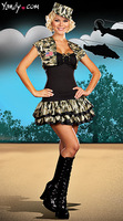 New female Halloween Camouflage costumes cosplay clothing set soldiers role play suit top with shrug hat and skirt