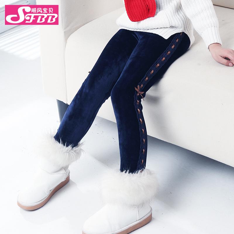 Downwind baby 2014 new children's trousers girl Leggings winter thickened plus velvet children's wear trousers(China (Mainland))