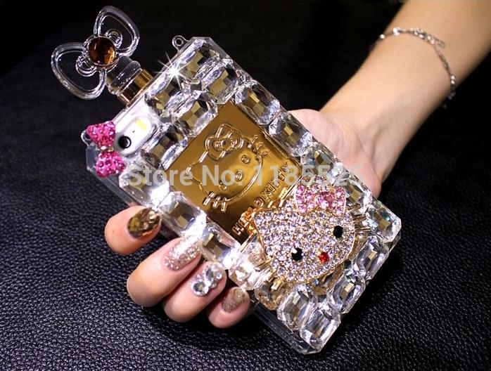 Fashion Luxury Brand Hello Kitty Bling Rhinestone Diamond Perfume Case Cover with Box for iphone 4 5s 6 6 plus(China (Mainland))