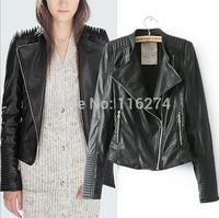 2014 Black PU Leather Zipper Women Jacket Hot Sale Fashion Locomotive Suit Long Sleeves Autumn Jackets Coats In Stock MYK029