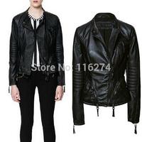 2014 Vintage Black PU Leather Zipper Women Jacket New Fashion Slim Locomotive Suit Autumn Jackets Coats In Stock MYK033