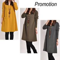Autumn casual women dress cotton loose Spring vestidos robe femme vetement plus size sport long sleeve roupas femininas desigual