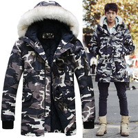 2014 New Arrival Brand Camouflage Men's Down Winter Coats Army Jacket Fashion Casual Parka Long Thick Outerwear S - XXXL H0755