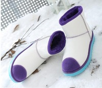 2014New autumn winter Snow boots Women Waterproof boots Mixed colors Female Lower Cylinder Botines Mujer Botas de Mujer
