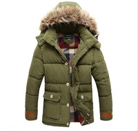 hot sale free shipping Russia winter  men thick hooded down cotton  padded parka jackets