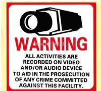 CCTV Warning Sticker Surveillance Security Camera Adhesive Warning Decal Signs label 8 x 8cm