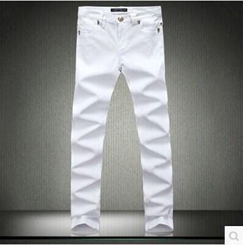 2014 новинка четыре сезона покупке классический отбортовывать дуньхуан горячая распродажа мужская мода белые джинсы
