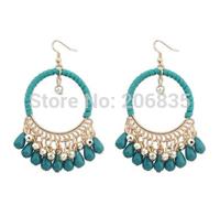 New Bohemia Earrings Handmade Weave Round Earrings Tassel Waterdrop Earrings for Woman