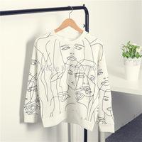 2014 New Arrive Women Hoody Full Length O Neck Women Head Printed Sweatshirt Popular Street Wear Casual Pullover