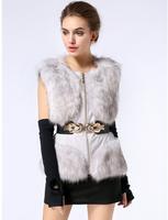 2014 New Faux Fox Fur Coats/Winter Sleeveless fur Vest Patchwork Pu leather Women Fashion Outwears colete pele with Belt