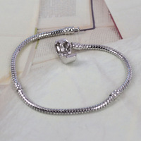 PH100-1 Fashion Women European 925 Silver Bracelet & Bangle Snake Chain with Barrel Clasp fit for Pandora or Chamilia Bead Charm