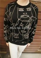 women heads printed sweatshirt 2014 popular women clothing full length o neck women pullover on promotion free shipping