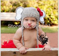 NEW 5pcs Cute baby kids woven wool warm hat baby elephant head cap sleeve Christmas Gift