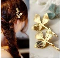 Vintage Three Leaf Design Metal 18K Gold Plating Barrettes Hairclip Hair Accessory A8R2