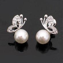 New Fashion  Ladies Womens Lovely Pearl Rhinestone Butterfly Design Earrings Ear Stud Ear jewelry free shipping