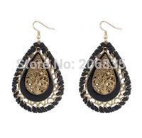 New Fashion Bohemia Weave Waterdrop Earrings Handmade Earrings Frosted Earrings for Woman